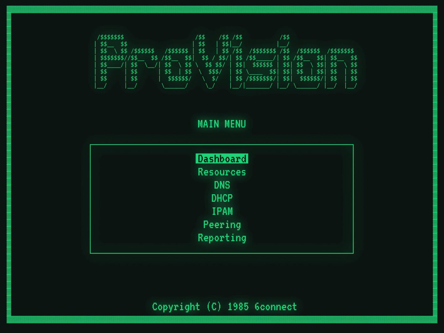 Main menu screen in MS-DOS
