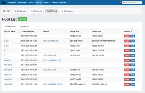 7.0.0 DHCP Pools Page Pool List