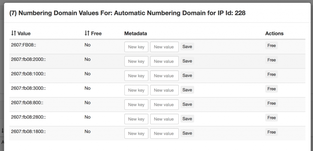 Screenshot: numbering domain values
